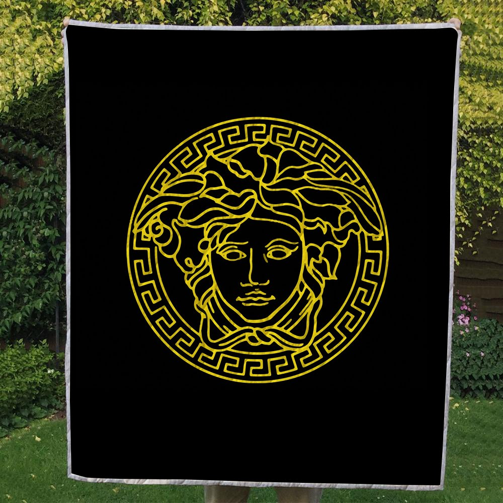 Versace Gold And Black Circle Logo Brand 3D Quilt Blanket ...